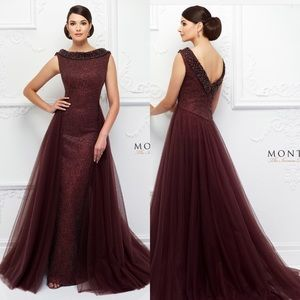 Montage Ivonne D Reverse Collar evening gown
